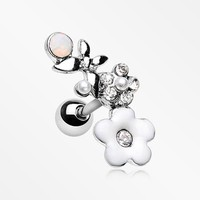 Flower Butterfly Opalescent Sparkle Cartilage Tragus Earring