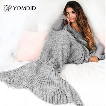 Mermaid Tail Blanket Handmade Yarn Knitted Mermaid Blanket Crochet Soft For Home Sofa Sleeping Bag Kids Adults Christmas Gifts