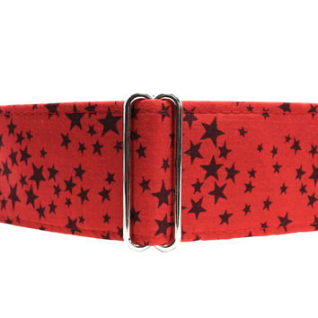 Red Martingale Collar, 1.5 Inch Martingale Collar, 1.5 Inch Dog Collars, Stars Martingale Collar, Red Stars, Red Dog Collar Greyhound Collar