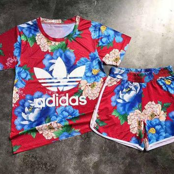 Adidas Women Fashion Print Sport Tops Shorts Set Two-Piece Sportswear