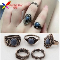 Vintage Ring Sets Fashion Designer Antique Alloy Nature Blue Stone 5pcs Midi finger Rings