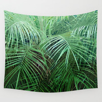 Jungle Palms 2 - Wall Tapestry, Green Palm Tree Fronds Beach Decor, Tropical Style Boho Chic Home Decor Backdrop Accent. Small Medium Large
