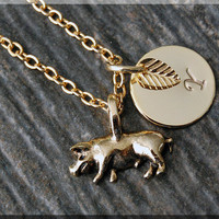 Gold Little Piggy Charm Necklace, Initial Charm Necklace, Personalized, Pig Pendant, Farm Animal Jewelry, Monogram Pig Necklace