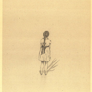 Little girl in white dress Pencil Drawing A4 Print in a original vintage paper