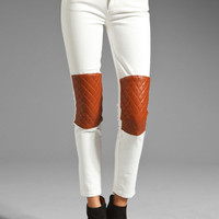 MAX FOWLES Jean with Leather Patches in White/Tan from REVOLVEclothing.com