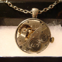Steampunk  Vintage Elgin Watch Movement Necklace (970)