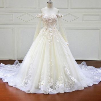 Ball Gown Wedding Dress Off the Shoulder 3D Flower Pearls Lace Bridal Dresses