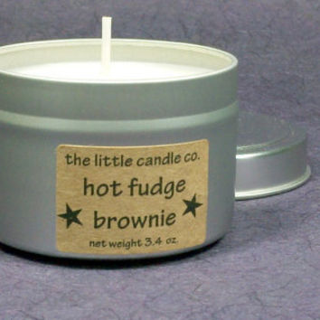 Soy Candle Tin // Hot Fudge Brownie // Highly Scented Container Candle // Mother's Day Gift // Wedding Favor // Primitive Home Decor