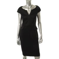 French Connection Womens Textured Peplum Cocktail Dress
