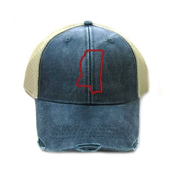 Mississippi Hat - Distressed Snapback Trucker Hat - Mississippi State Outline - Many Colors Available