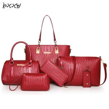 Brand High Quality Weave Pattern Leather Women  6 Pieces Sets