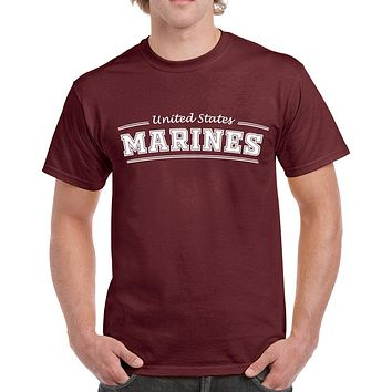 2db7eb007 Men's Proud Dad Marines Heavy Cotton Classic Fit Round Neck Short Sleeve T- Shirts –