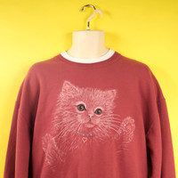 "Vintage ""Ugly but Cute"" Cat Sweater w/ Glitter and Rhinestone Eyes Kitsch Kawaii Style Unisex Size Large"