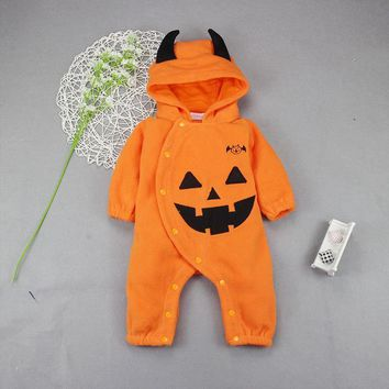baby halloween romper halloween costumes for baby boy girl Pumpkin Hooded Rompers Festival Party clothes 2018 Winter