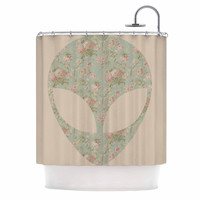 "Alias ""Floral Alien"" Pink Teal Shower Curtain"