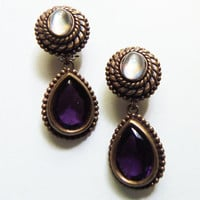 Stephen Dweck Moonstone and Amethyst Earrings