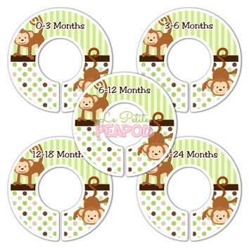 5 Custom Made Baby Closet Dividers - M2M Mod Pop Monkey Bedding Design - Green and Brown Nursery Baby Shower Gift