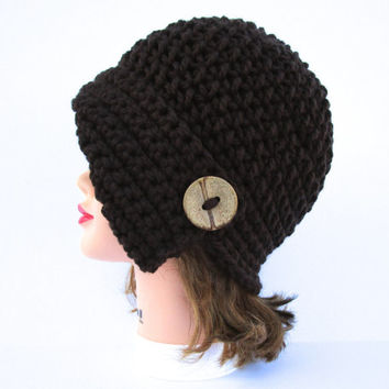 Crochet Cloche - Dark Taupe Hat With Button - Women's Cloche - Flapper Hat - Asymmetrical Hat - 1920s Cloche Hat - Chunky Headwear