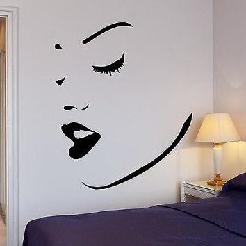 Wall Stickers Vinyl Decal Perfect Sexy Girl Women Face Lips Makeup Spa Unique Gift (ig659)