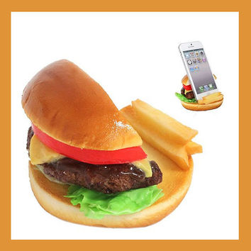 Delicious Cheese Burger Yummy Life Like Actual Size Realistic Food Inspired Unique Cell Phone Mobile Accessory Stand Holder 54-800119