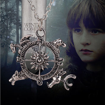2015 New Movie Necklace Free Shipping Game of Thrones Inspired Intro Theme Crest Pendant Compass Necklace XY-N83