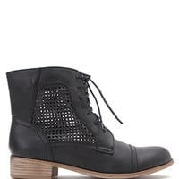 Black Poppy Perforated Lace Up Boots at PacSun.com