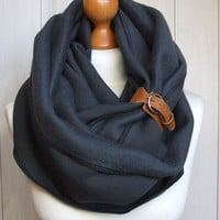 CHUNKY Infinity Scarf with leather cuff, winter fashion infinity scarf