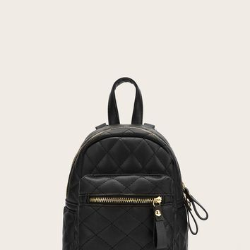 Quilted Zipper Simple Backpack