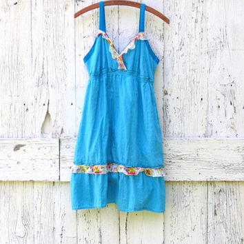 Turquoise Babydoll Sundress , Empire Waist Women's summer dress , eco friendly Large , upcycled recycled refashioned clothes by wearlovenow