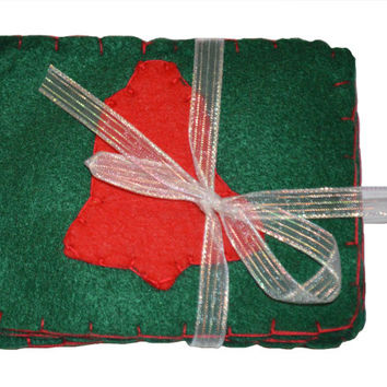 Bell Coaster Set, Fabric Bag, Drink Coaster, Felt Mug Rug, Christmas Decor, Table Protector, Cloth Mat, Teacher Gift, Hostess Gift, Birthday