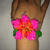 3D Flower Bracelet Rainbow Loom Handmade Rubber Band