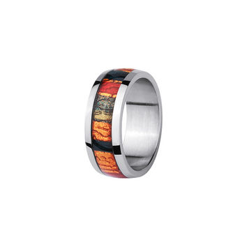 Stainless Steel Ring with In Laid Oak Wood Design - 3 Color Option