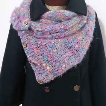 oversize scarf, button scarf, wool scarf, unique gift, women gift, gift for her, long scarf, knit scarf, marbled, colorful scarf, winter