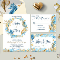 Boho Beach Wedding Invitation Printable Destination Wedding Invitation Suite Seaside Wedding Invite Watercolor Wedding Set Digital (Printed)