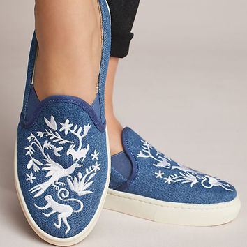 Soludos Embroidered Denim Sneakers