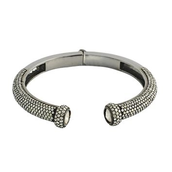 8.75ct Pavé Round & Rose Cut Diamonds in 925 Sterling Silver Bangle Cuff Bracelet