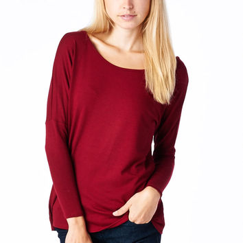 Burgundy Long Sleeve Dolman Top