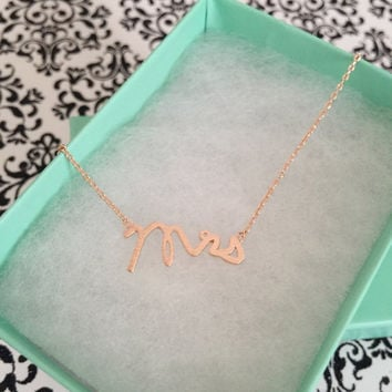 SALE - Rose Gold Mrs Dainty Necklace,Women's Necklace,Rose Gold Necklace,Bridesmaid Gift,Birthday Gift,Valentine's Day Gift,Christmas Gift