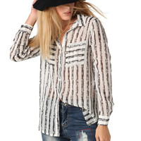 Chiffon Stripe Shirt with Double Pocket