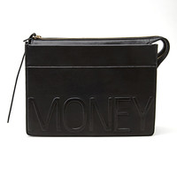 FOREVER 21 Faux Leather Money Clutch Black One
