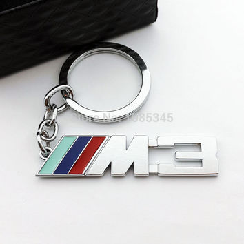 Car Styling Metal M3 Keychain Double Side Car Badge Emblem Logo KEY Ring For BMW VW M series