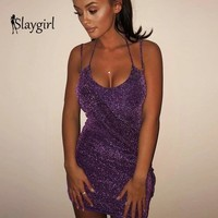 Slaygirl Kendall Jenner 21st Birthday Outfits Sexy Halter Sequined Party Dresses 2018 Summer Dress Backless Sequins Vestidos