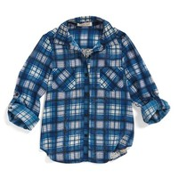 Girl's Zoe & Rose x Band of Gypsies Contrast Back Plaid Shirt,