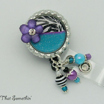 Blue and Zebra with a Splash of Purple - Retractable Badge Reel - Designer Badge Clip - Zebra ID Pull - Cute ID Holder - Beaded ID Reel