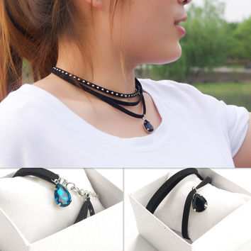Jewelry Gift Stylish New Arrival Shiny Punk Chain Rivet Water Droplets Gemstone Necklace [9052193028]