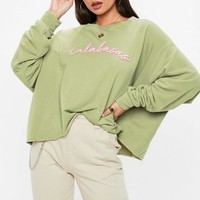 Missguided - Khaki Calabasas Cropped Sweatshirt