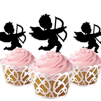 6 pcs in one set eros angle CupCake toppers for party decor, baby shower party cupcake topper acrylic, bridal shower cupcake topper