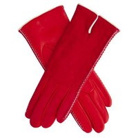 Suede and Lambskin Cashmere Lined Leather Gloves Size 6 1/2 Color RED/WHT By Fratelli Orsini (CA0433