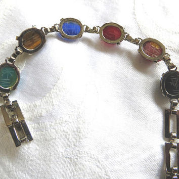 Vintage Sterling Scarab Bracelet, Egyptian Revival Gemstone Scarabs, Sterling Silver Links, Scarab Jewelry