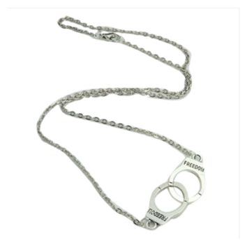 Silver Plated Handcuffs Collar Pendant Necklace For Women